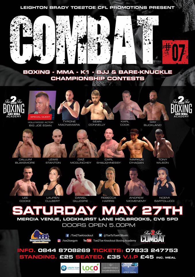 BOXING ~ MMA ~ K1 ~ BKB ~ BJJ ~ COVENTRY TOE 2 TOE COMBAT FIGHT LEAGUE EVENT